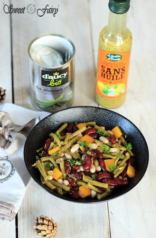Salade aux 3 haricots et sauce salade sans huile Citron Basilic du Jardin d'Orante - Sweet and fairy