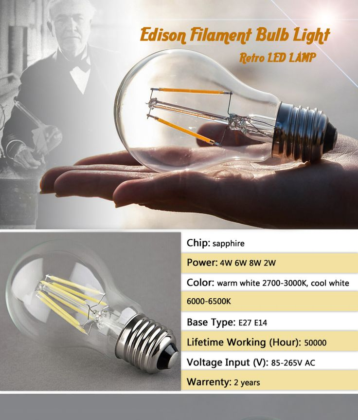 Buy Best quality A60 A19 360 degree 4w e27 filament bulb led LED Residential Lighting on bdtdc.com