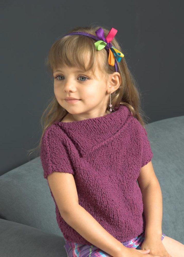 ea9e918a8 Girl s Split Collar Short Sleeve Top in Plymouth Yarn Daisy - 2640 ...