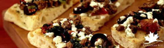 This greek beef bruschetta is a sophisticated appetizer that everyone will love #SuperBowl #LoveCDNBeef #SB48