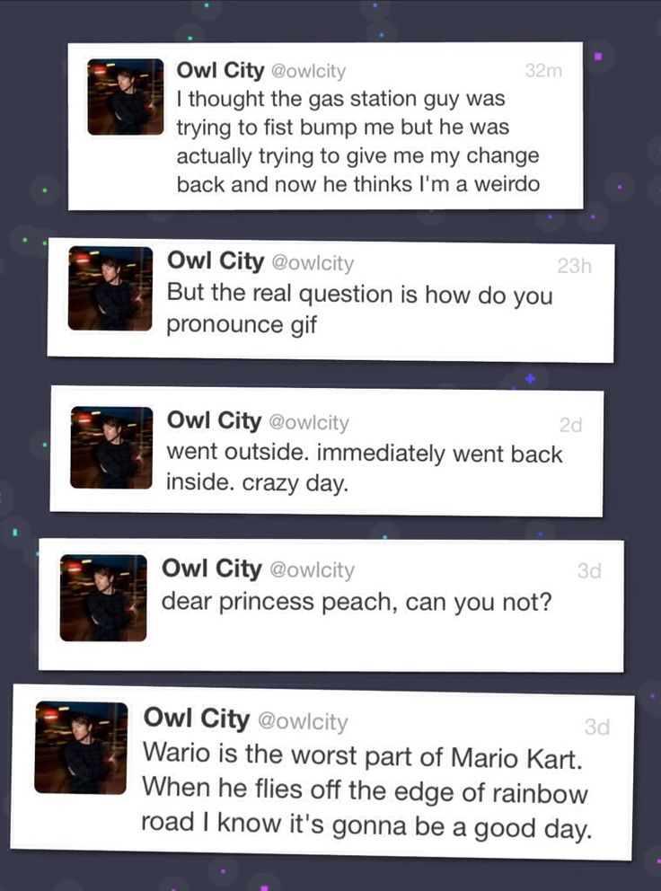recent owl city tweets -- owl city , adam young , twitter made by @paper1tiger