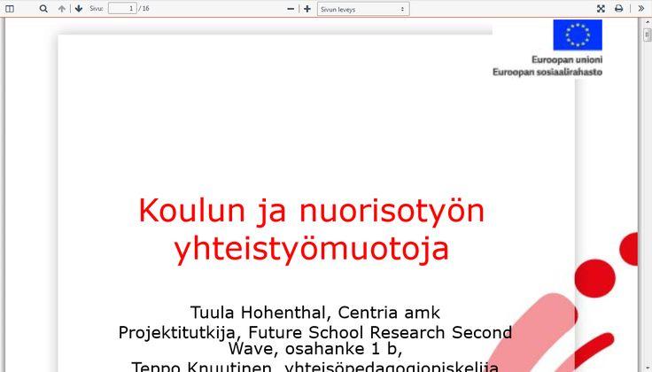 Koulun ja nuorisotyön yhteistyömuotoja: http://docplayer.fi/12157207-Koulun-ja-nuorisotyon-yhteistyomuotoja.html.