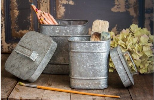 Crafted from galvanized metal, these canister sets are simply unique and farmhouse chic. Use these to get Organized