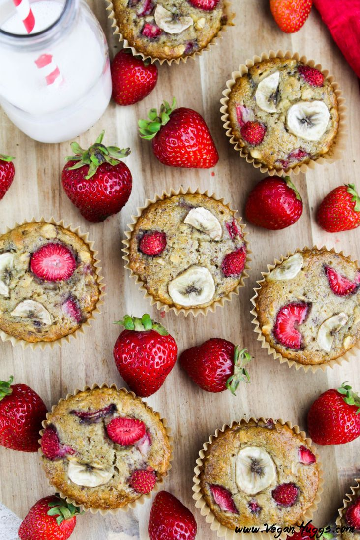 Vegan Strawberry Banana Breakfast Muffins