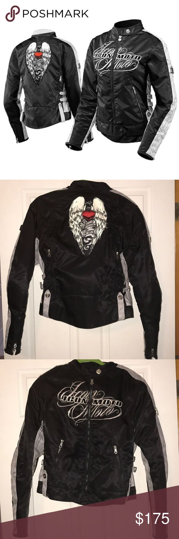 ICON motorcycle jacket Street Angel $175 OBO | Size: Large | ••WORN ONLY 2 TIMES!••  Durable Nylon Textile Chassis. Removable CE Field Armor Impact Protector Elbow. Removable CE Field Armor Impact Protector Shoulder. Removable Dual-Density Foam Back Pad. Zippered Intake and Exhaust Vents for Cooling. Removable Insulated Liner. Custom Buckle Adjustment System. Icon Women's Sport Fit. ICON Jackets & Coats Utility Jackets