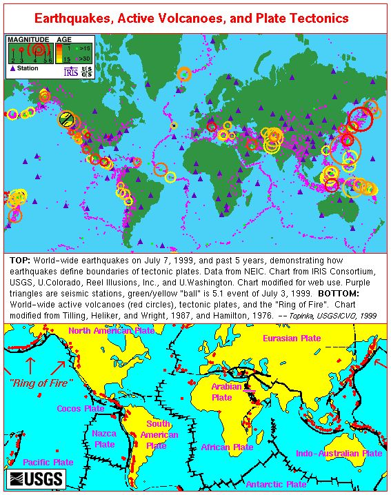 Earthquakes, Volcanoes, and Plate Tectonics - World Map