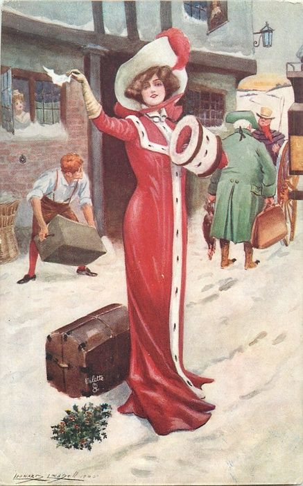 woman in long red cloak, waving, trunk behind her