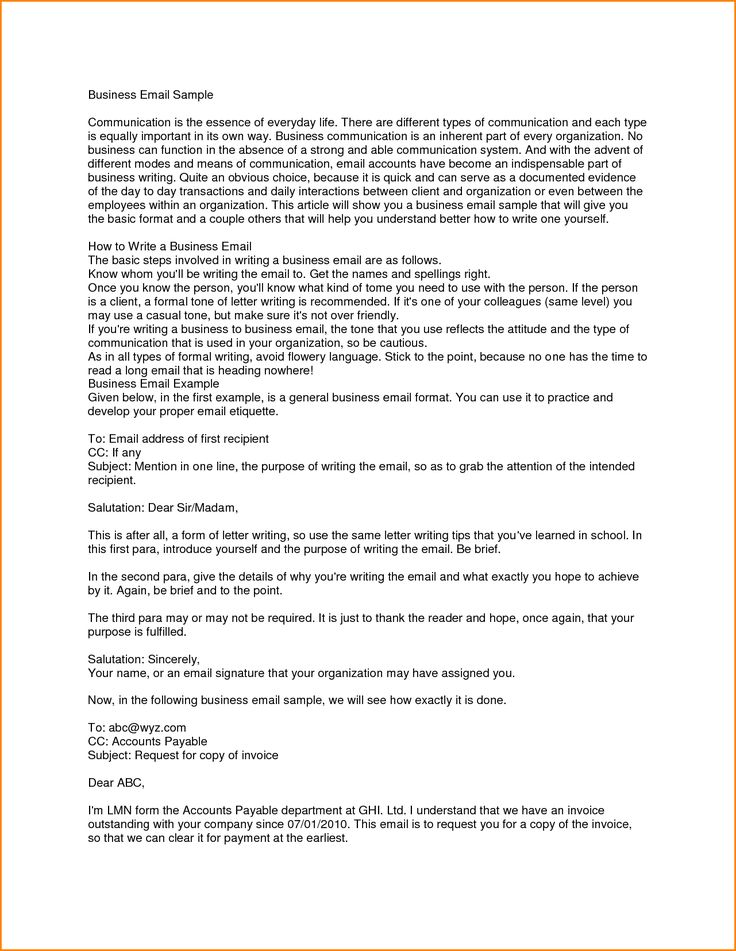 25+ belas ideias de Exemplo de email formal no Pinterest Formato - sample business email