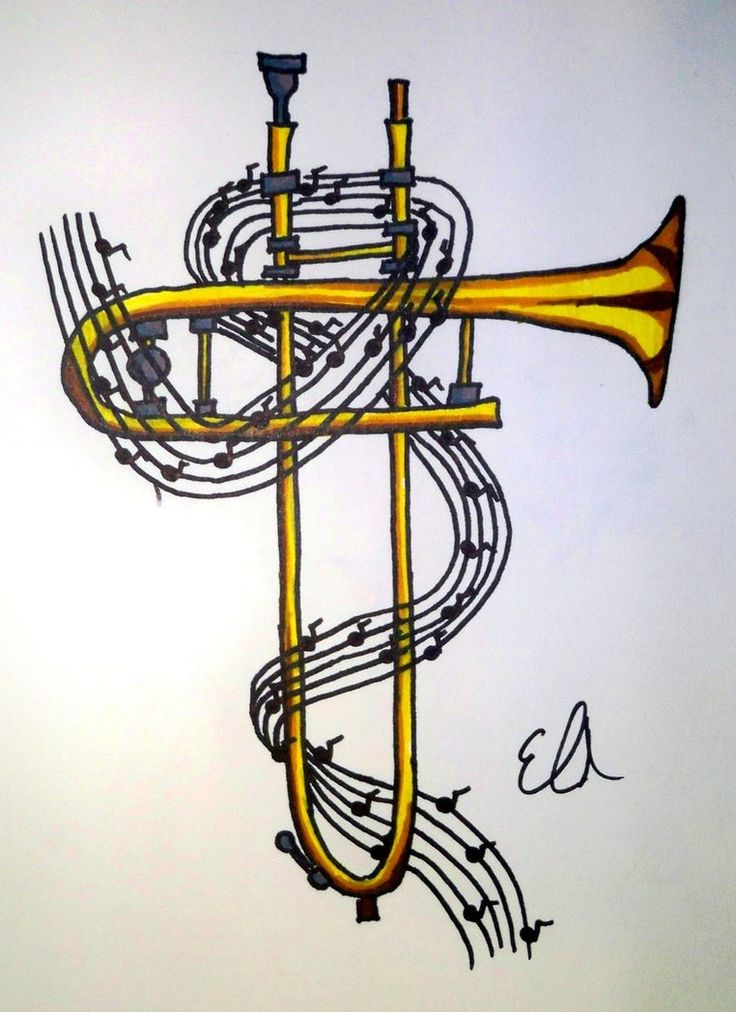 Tattoo Design: Trombone Cross by bueatiful-failure