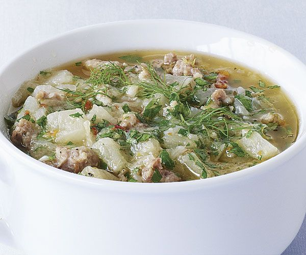 Sausage, Potato, and Fennel Chowder from Fine Cooking. Note from reviewers: use hot Italian sausage, drain fat off after using