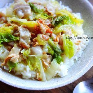 ♡超簡単のっけごはん♡豚肉と白菜の塩あんかけ丼♡【#時短#節約】 - Mizukiの簡単レシピとキラキラテーブルスタイリング レシピブログ - 料理ブログのレシピ満載!