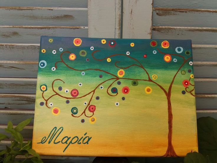 Acrylic painting happy tree