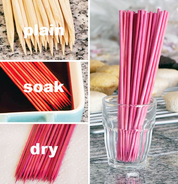 Match your wooden skewers to any party theme. Soak skewers in water tinted with a little food coloring (about 10 drops). Then, drain and dry fully. Cute, festively colored dipping utensils.
