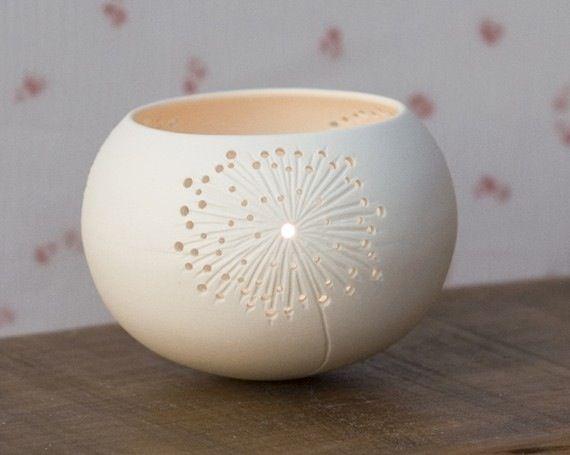 Porcelain candle holder.