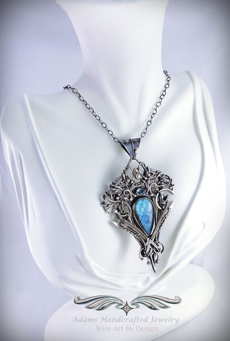 """Ariande"" -- Labradorite Pendant Necklace .999 Fine Silver w/ Swiss Blue Topaz (.90 ct). Original design by Daryl Adams. **Currently Available**"
