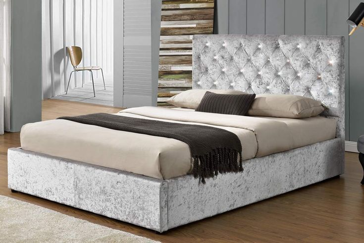 Chatsworth Diamante Crushed Silver Fabric Velvet Ottoman Storage Bed