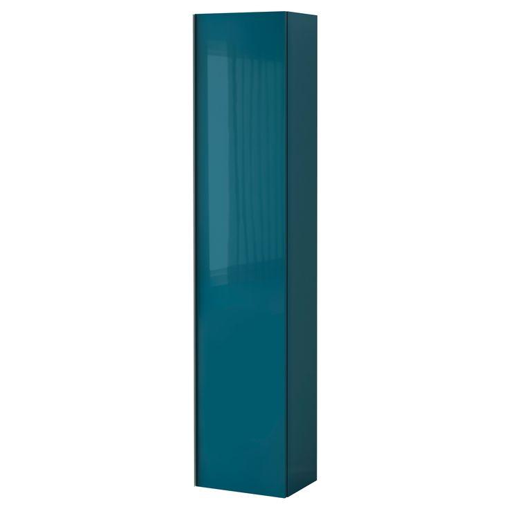 GODMORGON Vysoká skříň - lesklá tyrkysová - IKEA