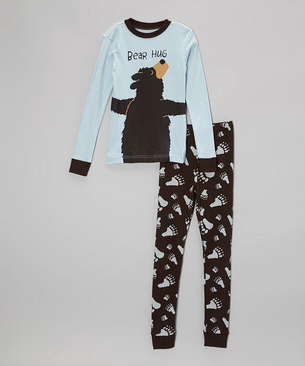 Lazy One Blue Bear Hug Pajama Set Toddler Amp Boys Kid