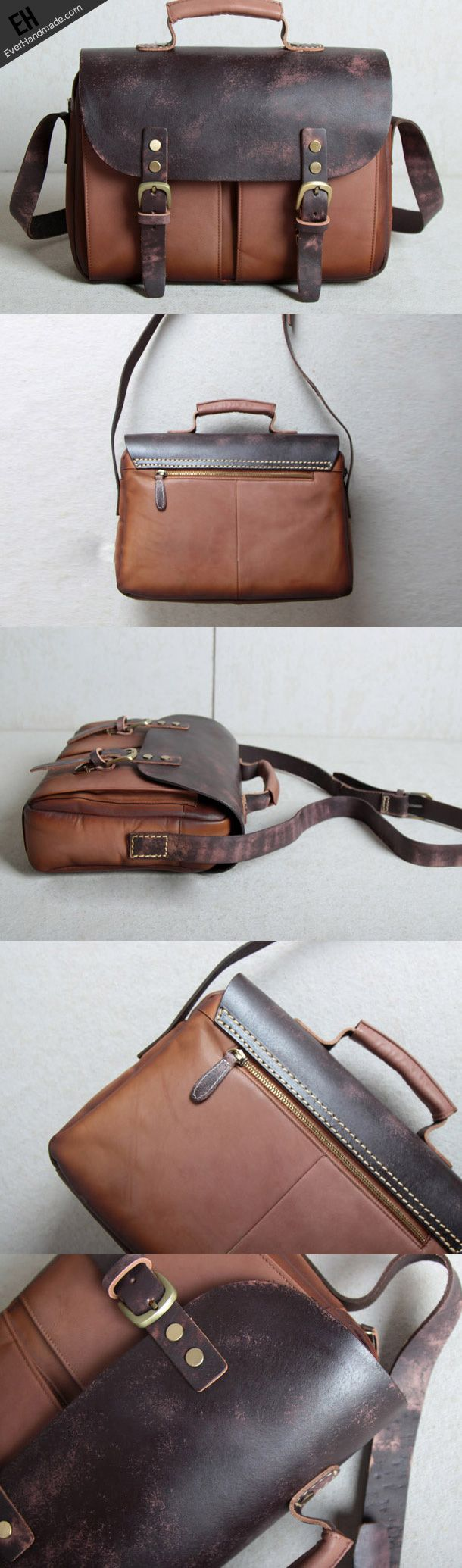 Handmade leather men Briefcase messenger Coffee Brown shoulder bag vintage bag for him