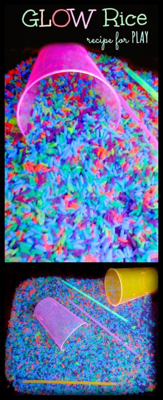 How to make glow in the dark NEON rice for play & learning activities- SO FUN