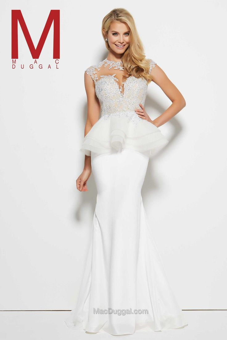 Fantastically modern and ready for the red carpet, Mac Duggal's peplum prom dress will totally make an entrance. On trend with sweetheart plunging neckline, a sheer illusion material is added to the bodice, and back. As silver stones, sequins and beading wrap around to the v-open back, you will be on point from the moment you enter the room. Unlike traditional peplum skirts, this prom dress features a sheer peplum that holds a voluminous look.   - USA Prom Dress http://bit.