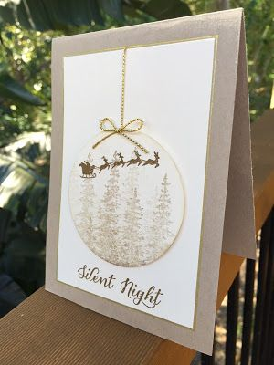 """handmade Christmast card from The Crafty Crafter ... neutrals ... luv the shadowy stamped trees on die cut bauble ... stamped Santa and sleigh on top ... great card! ... Stampin"""" Up!"""
