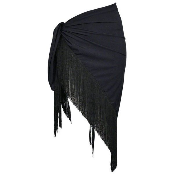 Preowned Chic Dior Black Sarong Wrap With Fringe - Swimsuit Cover Up +... ($550) ❤ liked on Polyvore featuring swimwear, cover-ups, black, swim cover up, one piece swim suit, bikini swimsuit, one piece swimsuit and bathing suit cover ups