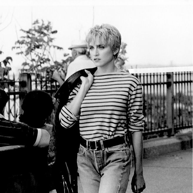"A still from Madonna's 1986 music video ""Papa Don't Preach."""