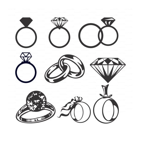 Wedding Diamond rings (svg, dxf, ai, eps, png) Vectors bridal shower, wedding invitation, solitaire, jewelry Cameo Silhouette EasyCutPrintPD