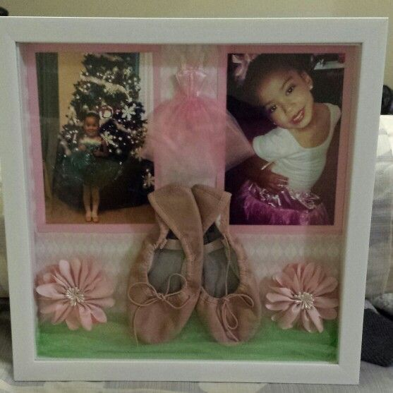 Her first ballet shoes and first recital photos. Shadow box, scrapbook paper, tulle and cute embellishments. Super easy, super cute :-)