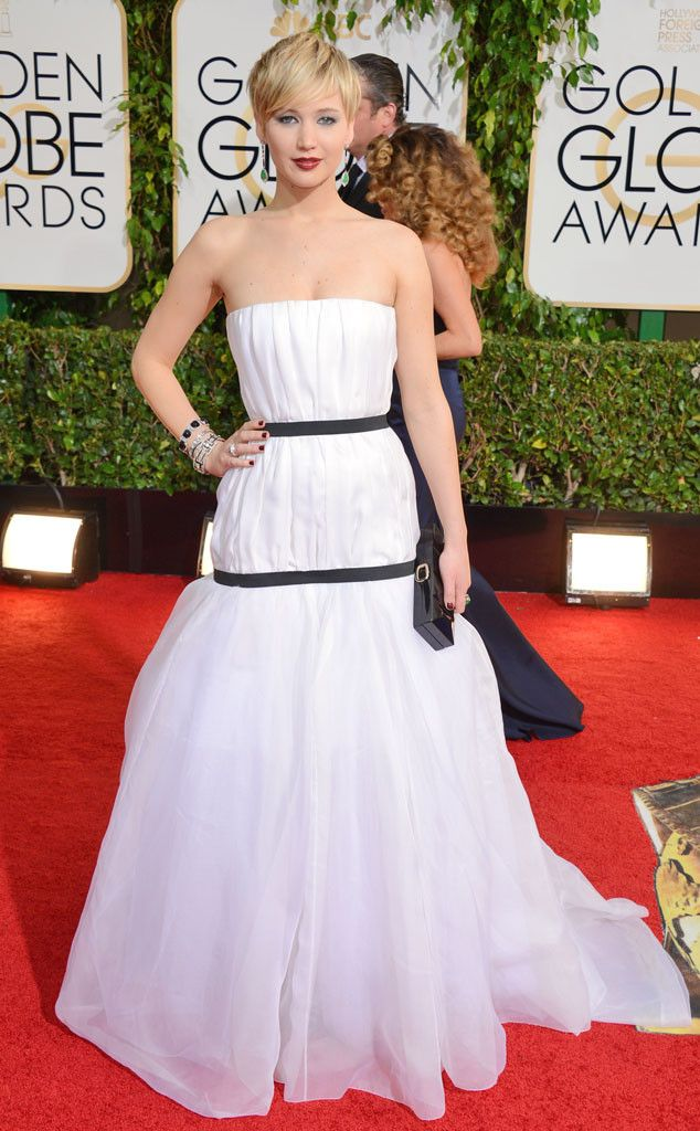 Jennifer Lawrence from 2014 Golden Globes: Red Carpet Arrivals     This dress reminds of gone with the wind