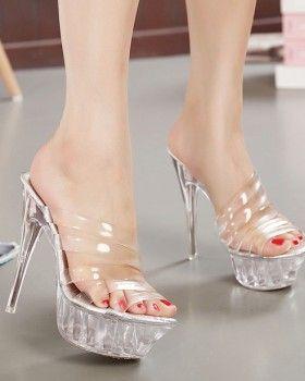 CW68420 Catwalk crystal sandals transparent platform for women
