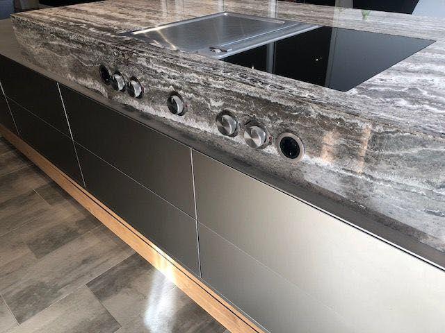 Maatwerk door stuut keuken design aluminium bora marmer hout