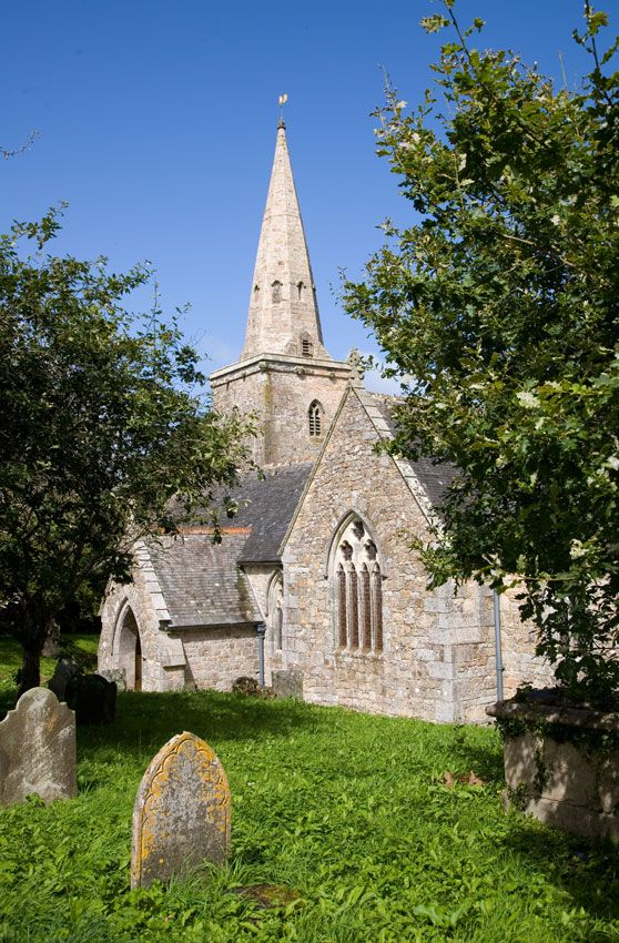 St. Hilary Church (©Cornwalls.co.uk) The current church mostly dates back to 1855 as the original church was almost completely destroyed by fire on Good Friday of 1853. The 78 foot tower and spire survived the fire and form part of the current church.