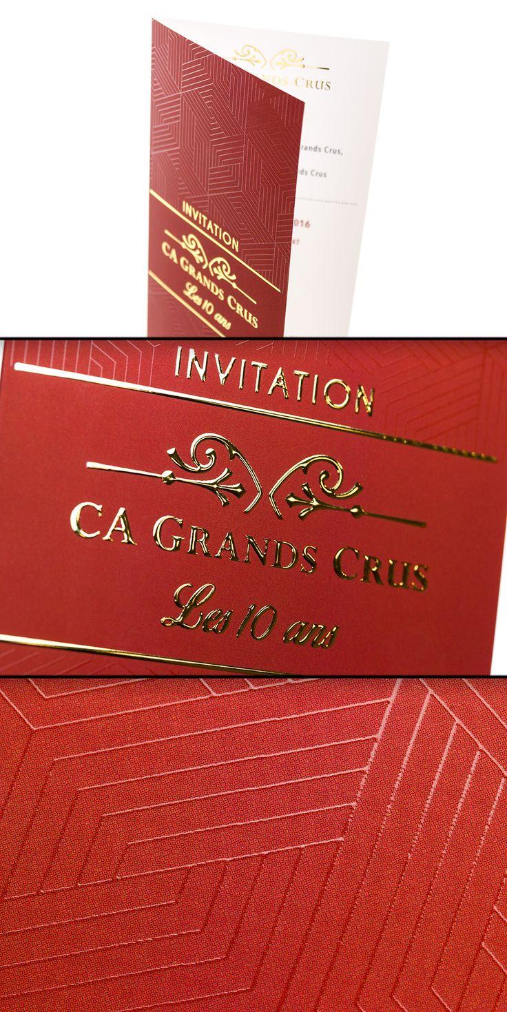 Invitation en 20x21cm sur Couché Satiné 300gr + pelliculage Mat Soft Touch / Dorure Or Brillant + Vernis 3D Sélectif #Vernis3D #HPIndigo #JetVarnish #dorure