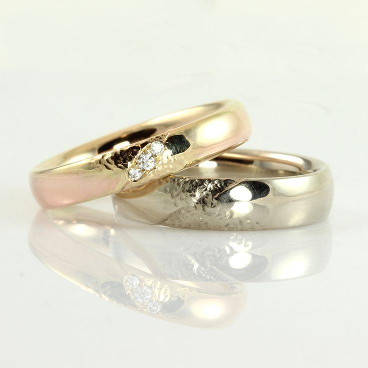 Galleri Castens - Vielsesringe hvid- og rosaguld med diamanter