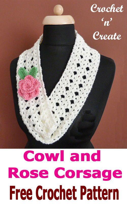 Crochet cowl rose corsage fandeluxe Gallery