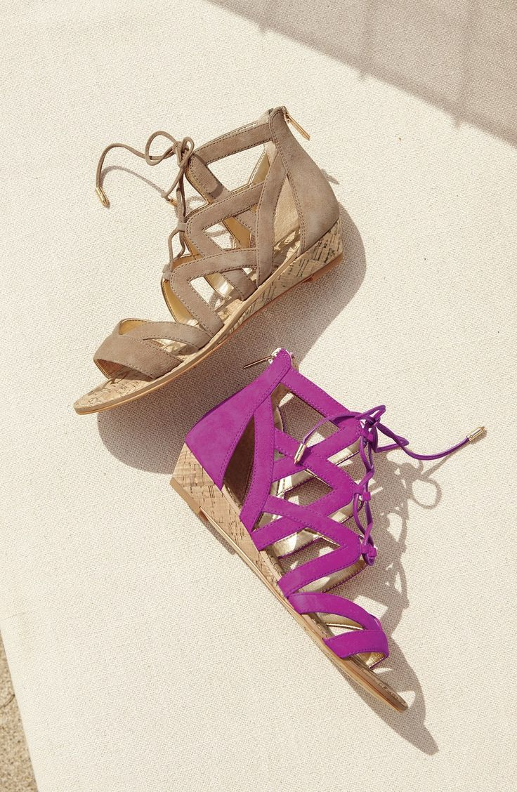 How cute are these lace-up sandals from Sam Edelman? Crisscrossed ghillie laces combine with a low cork wedge for a chic, yet casual look.