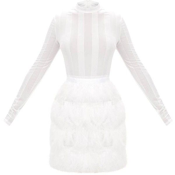 Fawn White Feather Skirt Bodycon Dress ($88) ❤ liked on Polyvore featuring dresses, white bodycon dress, feather dress, body con dress, white color dress and white feather dress