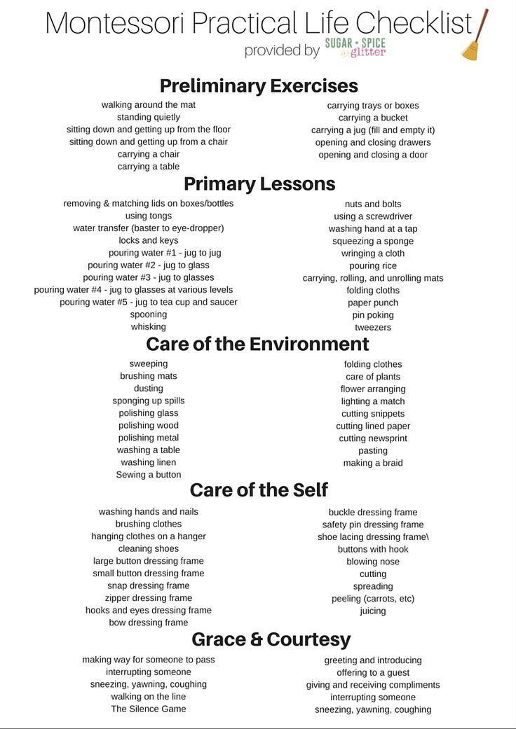 Montessori Practical Life Checklist! A great list for caregivers  and parents of preschoolers!