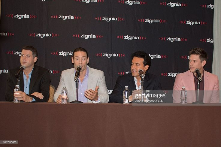 Members of Il Divo talk to the media during a press conference to announce their presentations as part of the Amor & Pasion Tour 2016 at Hotel Meridien on February 26, 2016 in Mexico City, Mexico.
