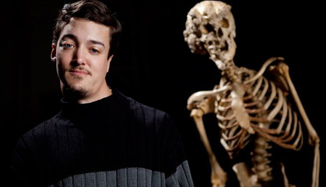 Brian Richards. Dude from Delaware (I believe). Pretty cool. Has the same condition that the Elephant Man might have had (Proteus Syndrome).-- found out by the discovery channels video. Meet The Elephant Man. He is standing next to Joseph Merrick's skeleton. Even though he lives every day with complications due to the syndrome. He never let's it get him down.