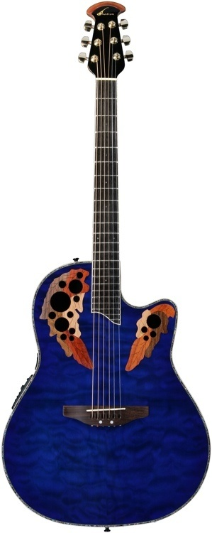 Ovation Celebrity Deluxe Quilt (Blue Burst Quilted Maple Top) -- I've always thought these are kinda neat.