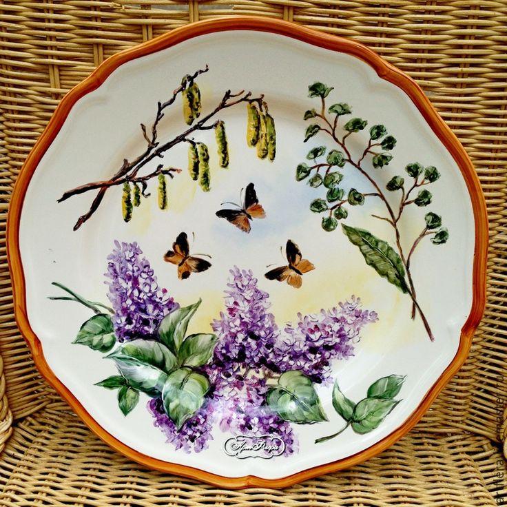 """Купить Тарелка """"Сирень и бабочки"""" - тарелка, Тарелка декоративная, тарелка сувенирная, тарелка в подарок"""