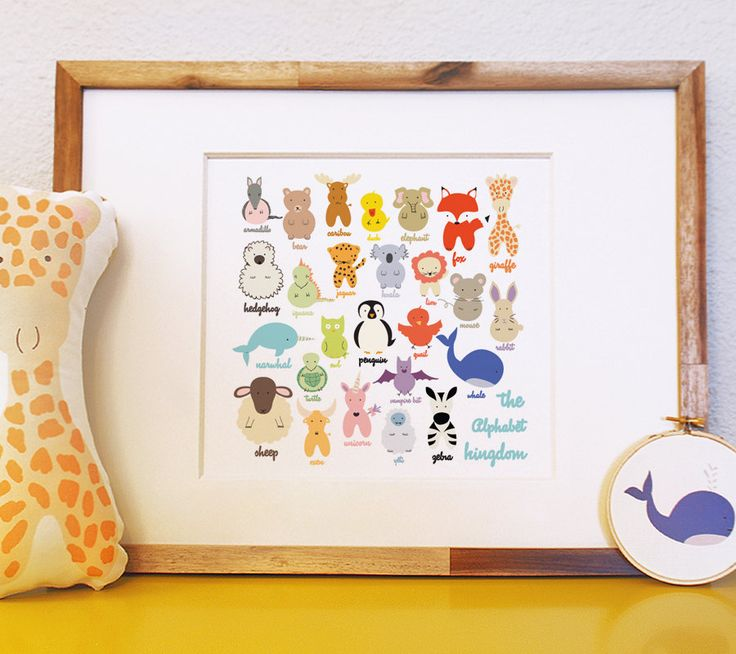 The Alphabet Kingdom woodland nautical and mystical animals and creatures colorful large 12x12 art print for children nursery and baby gift. $20.00, via Etsy.