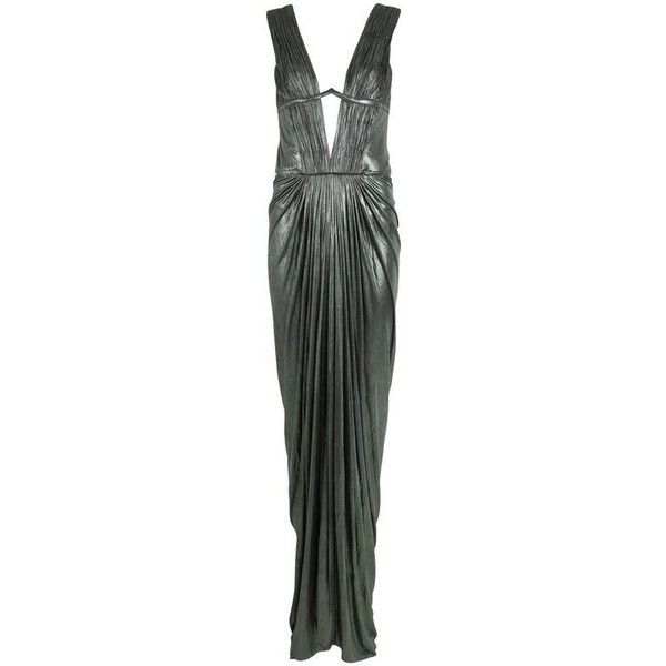 Roberto Cavalli Green Metallic Trained Stretch Evening Gown w/Plunge... ($1,365) ❤ liked on Polyvore featuring dresses, gowns, metallic evening dress, green metallic dress, plunge-neck dresses, pleated dresses and metallic dress