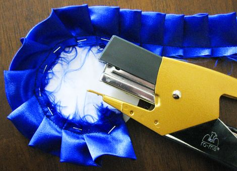 Tutorial for making handmade ribbons. Lion Cub Scouts - Lion Adventure - On Your Mark - Box Car Derby Race - Participation Ribbon (page 65)