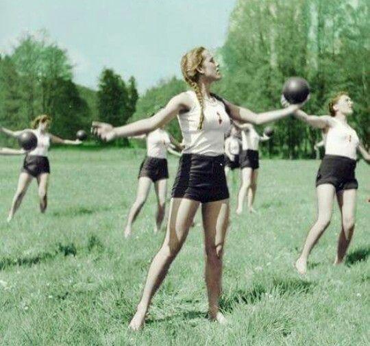 Bund Deutsches Mädel girls partaking in exercises on a warm Summer day in the Reich.