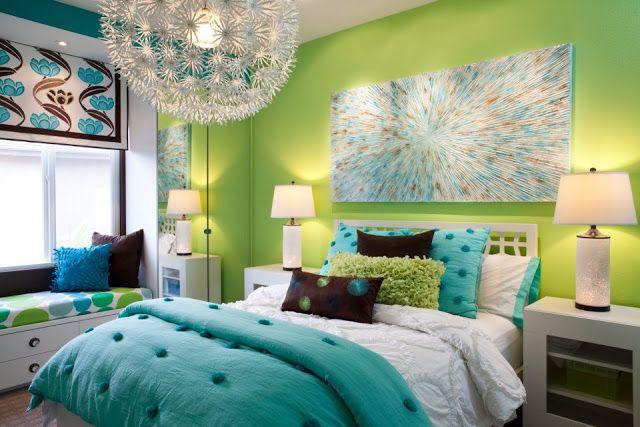 DORMITORIO VERDE MANZANA TURQUESA Y BLANCO by dormitorios.blogspot.com