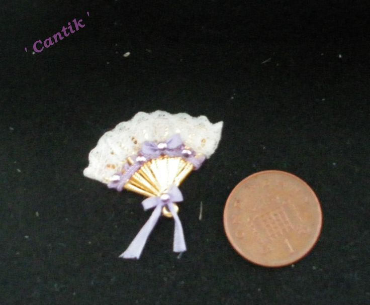 1:12 Scale Hand-Made Miniature  WHITE LACE LILAC TRIMMED LADIES FAN